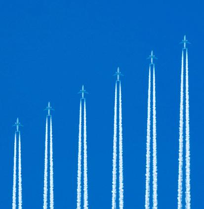 Jets flying in upward formation